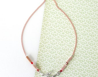 Sweet Red Love, Bird on Branch Necklace with Rhodonite Stones, Romantic Jewelry