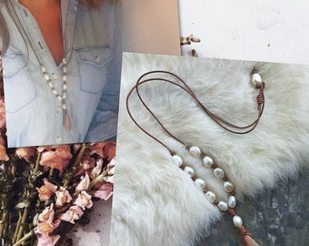 Moonstone Pendant Necklace / Moonstone and Freshwater Pearl Necklace / Leather and Moonstone Necklace