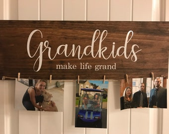Grandkids make life grand sign - Fathers day gift - Grandkids sign - Grandparents gift - Mothers day gift - Grandparents sign - Photo Sign