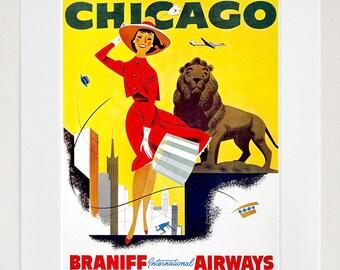 Chicago Art Illinois Decor Retro Travel Poster  (ZT587)