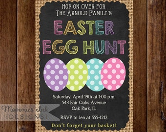 Easter Egg Hunt Invitation, Burlap and Chalk Easter Eggs, Easter Egg Hunt Invite, Easter Invite, Chalkboard Invitation, Easter Chalk Invite