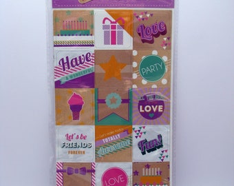 Magnet set - purple - fun - party - love - 18 magnets