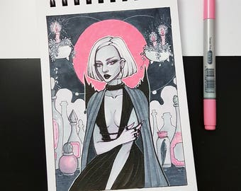 Pink Witch | Art print, wall art,  copic markers illustration, witch art, witch girl, pink and gray, fantasy art, character design, magic