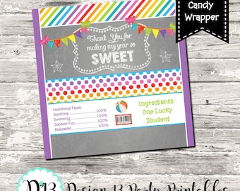 Teacher Appreciation Thank You Rainbow Candy Bar Chocolate Bar Wrappers Print Your Own INSTANT DOWNLOAD