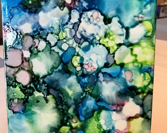 One of a kind, Hand-painted, Alcohol Ink ceramic tile