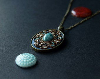 Blue ethnic pendant,classic romantic pendant, blue tibetan pendant, Indian blue pendant, boho blue pendant, polymerclay filigree pendant