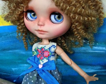 """SALE - BLYTHE or Pullip Dress - OOAK -  """"Erica"""" vintage cross stitch bodice with dotted flock swiss skirt"""
