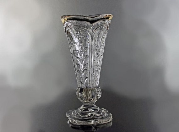 Footed Paneled Bud Vase, Gold Rim, Flower and Cat tail Pattern, Scalloped Top and Foot, 6 Inch Vase, Pressed Glass