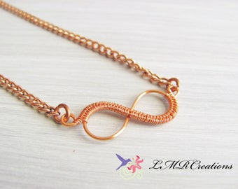 Small Copper Infinity Necklace, Wire Wrapped Infinity Necklace, Endless Love Pendant