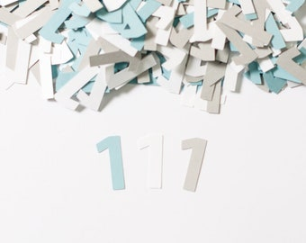 Custom Number Confetti, 1st Birthday, Modern Party Decor, Light Blue  Gray and White
