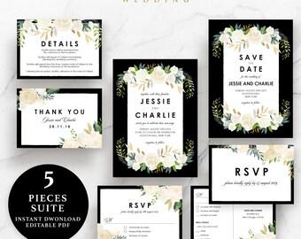 Flower Wedding Suite, Invitation, Save the Date, RSVP, Thank You Card, Details Card, Instant Download Printable, EWSU016