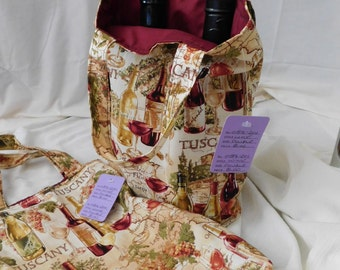 Recycled Wine Totes Beautiful Novelty Wine Carry/Gift Bags Market Bags 2 bottle Tote