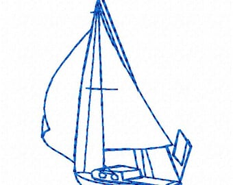 Sailboat Outline Machine Embroidery Design - Instant Download