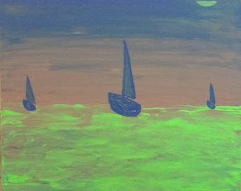 Original Acrylic on Canvas Board: Boats