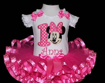 minnie mouse birthday outfit, minnie mouse birthday tutu dress, personalized minnie mouse 1st birthday outfit, cake smash outfit girl, baby