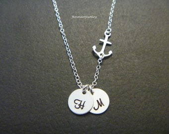 Anchor Necklace with Initial, Personalized, Nautical Charm Necklace, Bridesmaids Necklace, Bridal Party Gifts, Beach Wedding