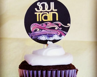 Soul Train Party, Soul Train Cupcake Toppers, Soul Train Party Supplies, Soul Train Party Decor, 70s Soul Train Party, 70s Soul Train