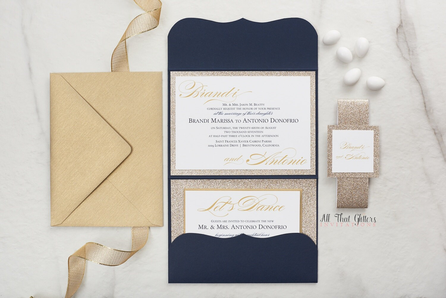 Royal Blue And Gold Wedding Invitations: Wedding Invitation In Navy Blue And Gold Glitter Royal Blue