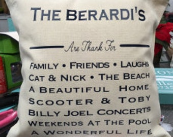 Family Pillow - Favorite Things - Personalized - Wedding