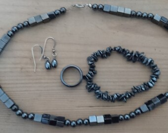 Vintage hematite ring, earrings, necklace and bracelet