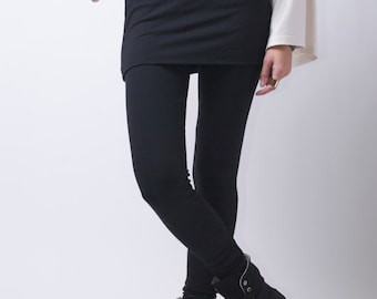 Extra Long Leggings / Womens Tights / Yoga Pants with an Attached Skirt /  Black Pants / Fold Over / Marcellamoda - MP0026