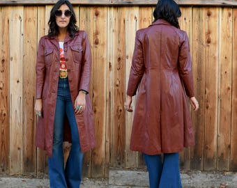 Vintage 70s LEATHER TRENCH Coat Long Jacket S