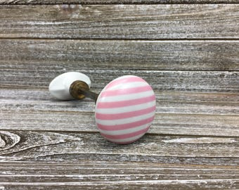 Vintage Porcelain Door Knob • White with Pink Stripes • Shabby Chic