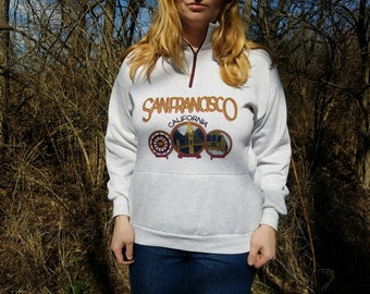 Vintage San Francisco California Half Zip Sweater