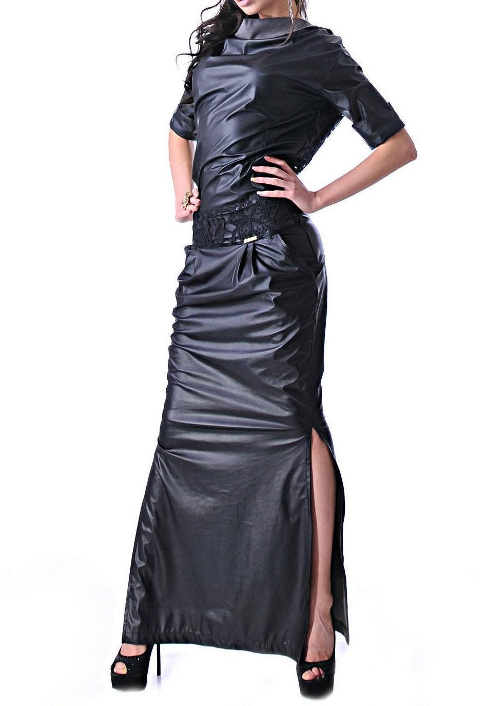 Schwarz Kunstleder Maxi Kleid/lang Kunstleder Kleid/Plus Size