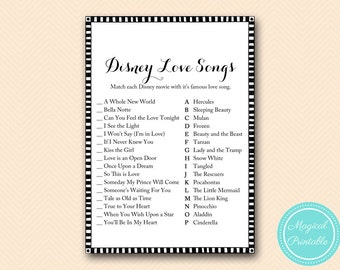 Famous Love Song Match Game, Match Movie to famous Love songs, Black and White Bridal Shower Game, Gold Bachelorette, Wedding Shower BS04