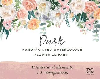 Aquarelle peinte à la main fleur Clipart - crépuscule