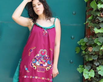 Burgundy maroon and green one of a kind Hand Embroidered Mexican Spaghetti strapped dress