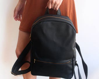 MILAN BACKPACK - Black vegan leather backpack / Women's backpack - vegan backpack /School backpack - faux leather backpack / Black backpack