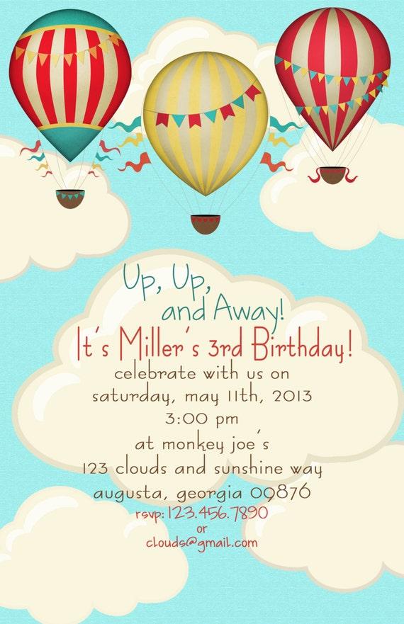 Hot Air Balloon Birthday Party Invitations