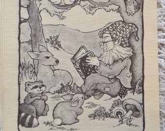 Vintage Bookplates - Gnome Elf Reading to Woodland Animals in Forest - 10