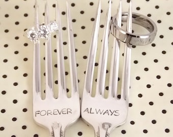 Forever Always Fork Set - Hand Stamped, Wedding Gift, Anniversary Silverware