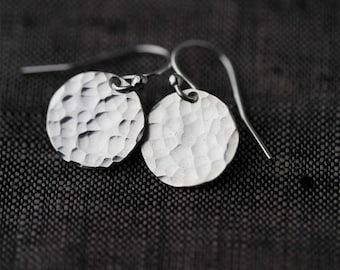 Hammered Silver Earrings Handmade, Mothers Day Gifts for Mom, Sterling Silver Handmade Jewelry, Gift for Women, Jewellery by Burnish