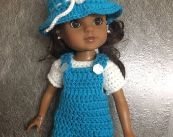 PDF Crochet pattern for 14inch doll, Wellie Wisher doll, Hearts for Hearts doll ~ dungaree set