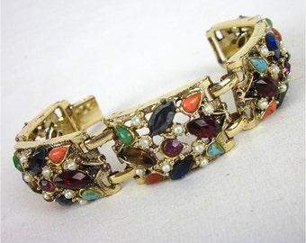 Vintage Bracelet, Multi Colored Rhinestones, 1960s