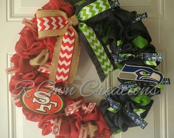 House Divided San Francisco  and Seattle  Burlap Wreath