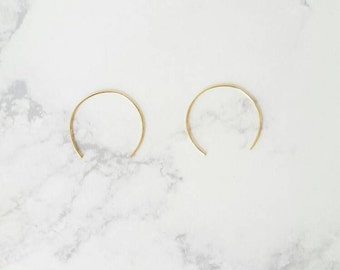 Crescent.... open hoop earring, hoop earring, threader hoop earring, geo hoop earring, threader earrings