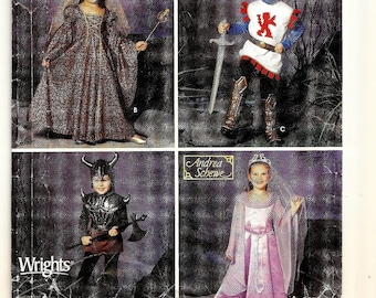 "A Childrens' Medieval Costumes Pattern: Knight, Queen, Princess, Warrior - Uncut - Sizes 3-4-5-6-7-8, Chest/Breast 22""-27"" ~ Simplicity 0664"