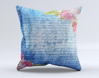The Vintage Denim & Pink Floral ink-Fuzed Decorative Throw Pillow