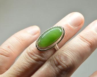 Jade big ovale Silver ring, Jade ring 7, Jade silver ring, Nephrite ring, Large  green ring