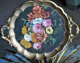 1940's Round Italian Florentine Tole Tray Gold Gilt w/Floral on Black Background -Vintage