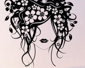 Wall Art Home Decor Murals Vinyl Decals Stickers--Flower Girl
