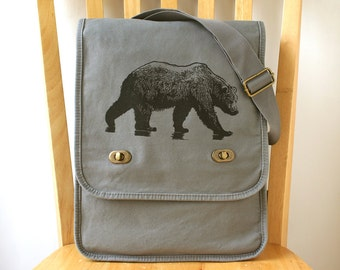 Bear Canvas Messenger Bag for Men Laptop Bag Bag for Women