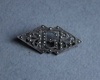 """Sterling and Marcasite, Art Deco, Initial """"G"""" Brooch, Circa 1930s"""