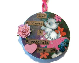 Original Paper Mache, Unique Ornament, Hanging Decoration, Vintage Image, Kitten Ornament, Multi Colors, Appreciation Gift, Kindness Gift