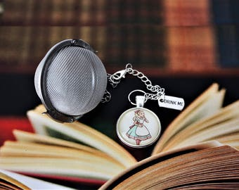 Alice In Wonderland Inspired Tea Infuser With Glass Cabochon  - Tea Ball - Lewis Carroll - Tea Infuser - Bookish Gift - Literary Gift